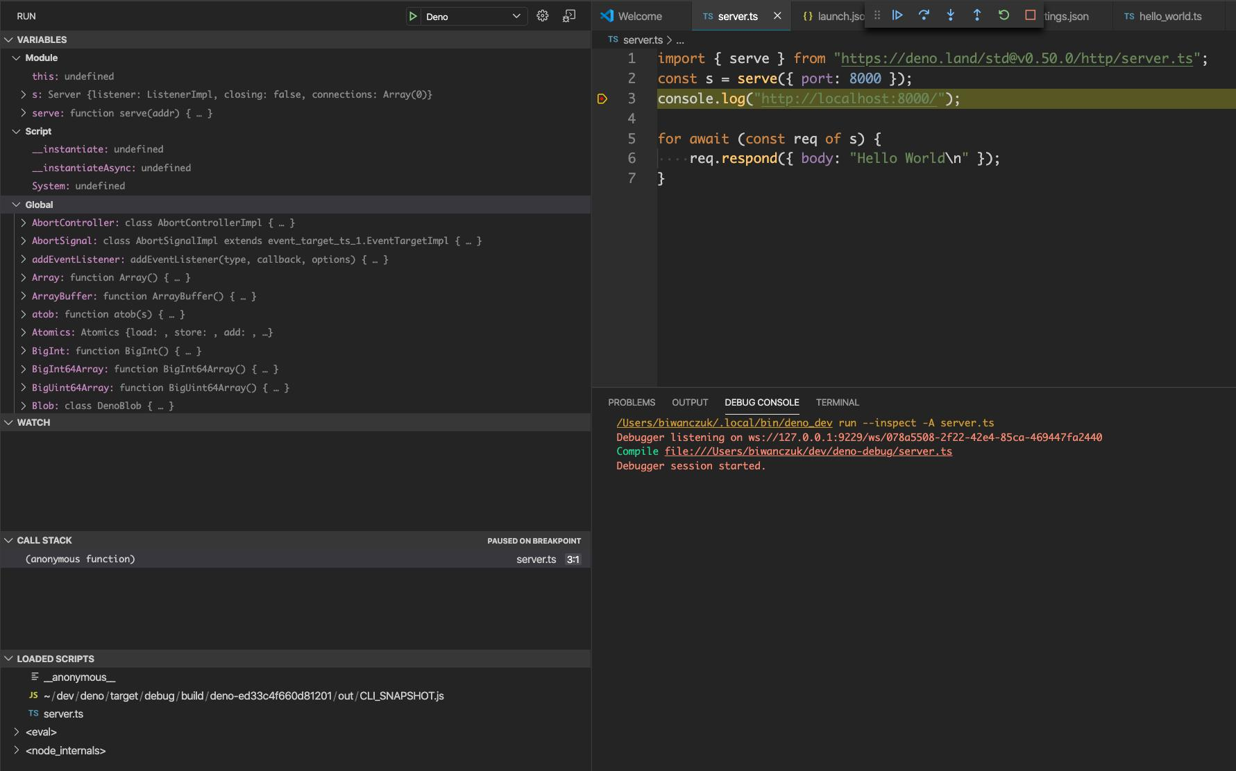 VSCode debugger